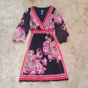 Black & Pink Floral Print Vneck Dress with Sleeves